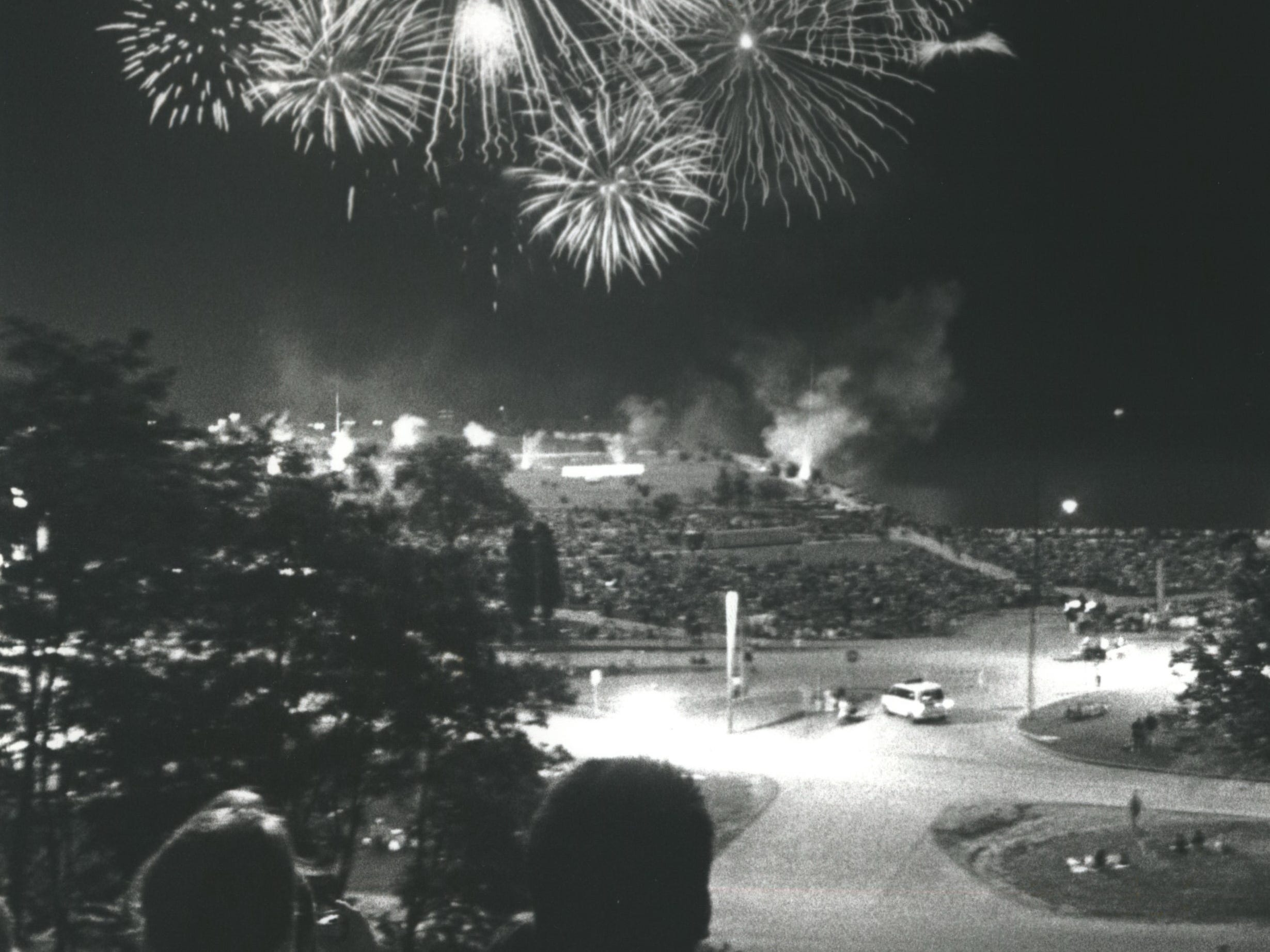 The Firstar Fireworks light up the sky at the lakefront on July 4, 1993. The fireworks had been postponed by rain from the day before. This photo was published in the July 5, 1993, Milwaukee Sentinel.