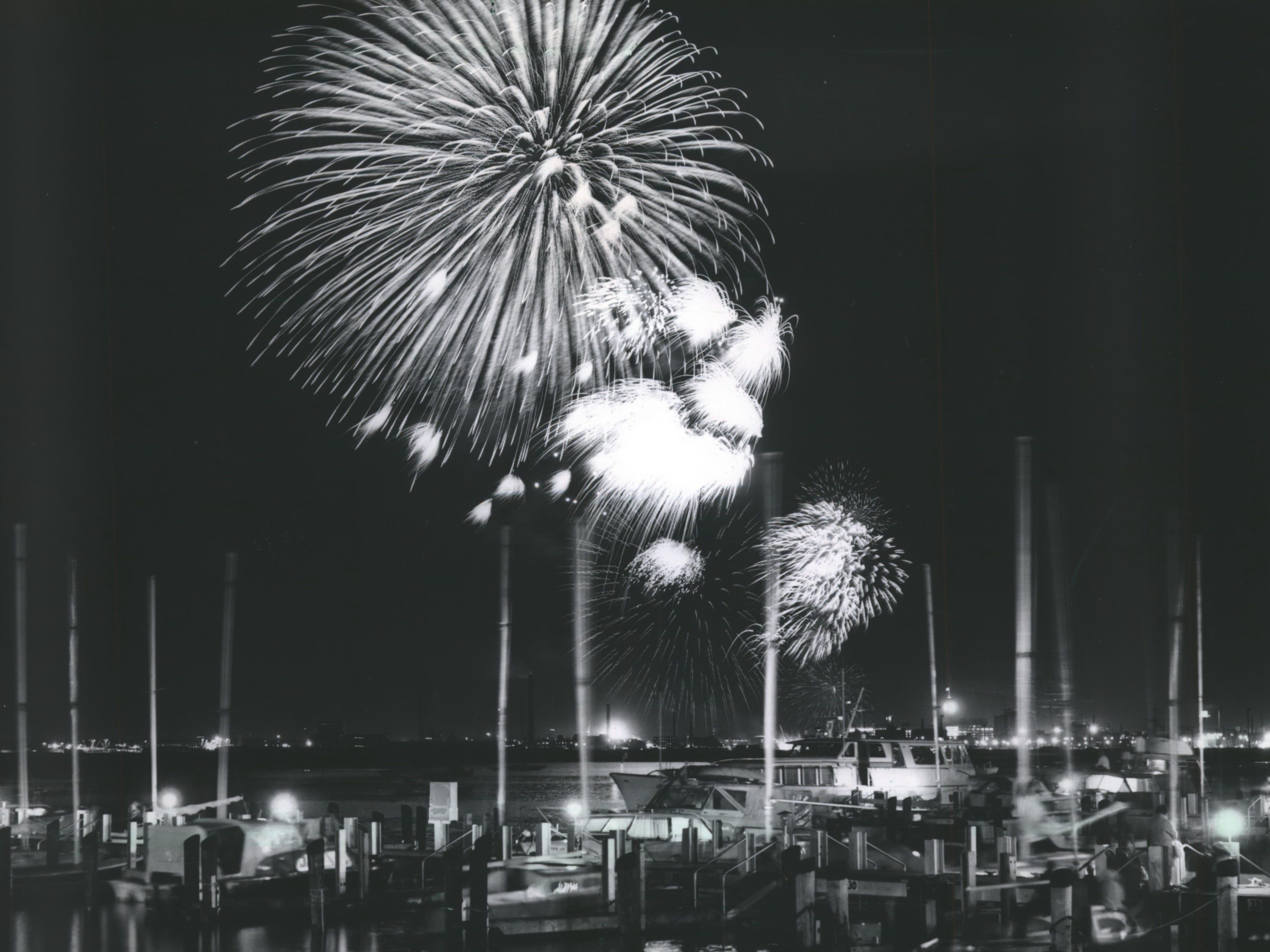 Fireworks burst above the McKinley Marina on July 3, 1967.