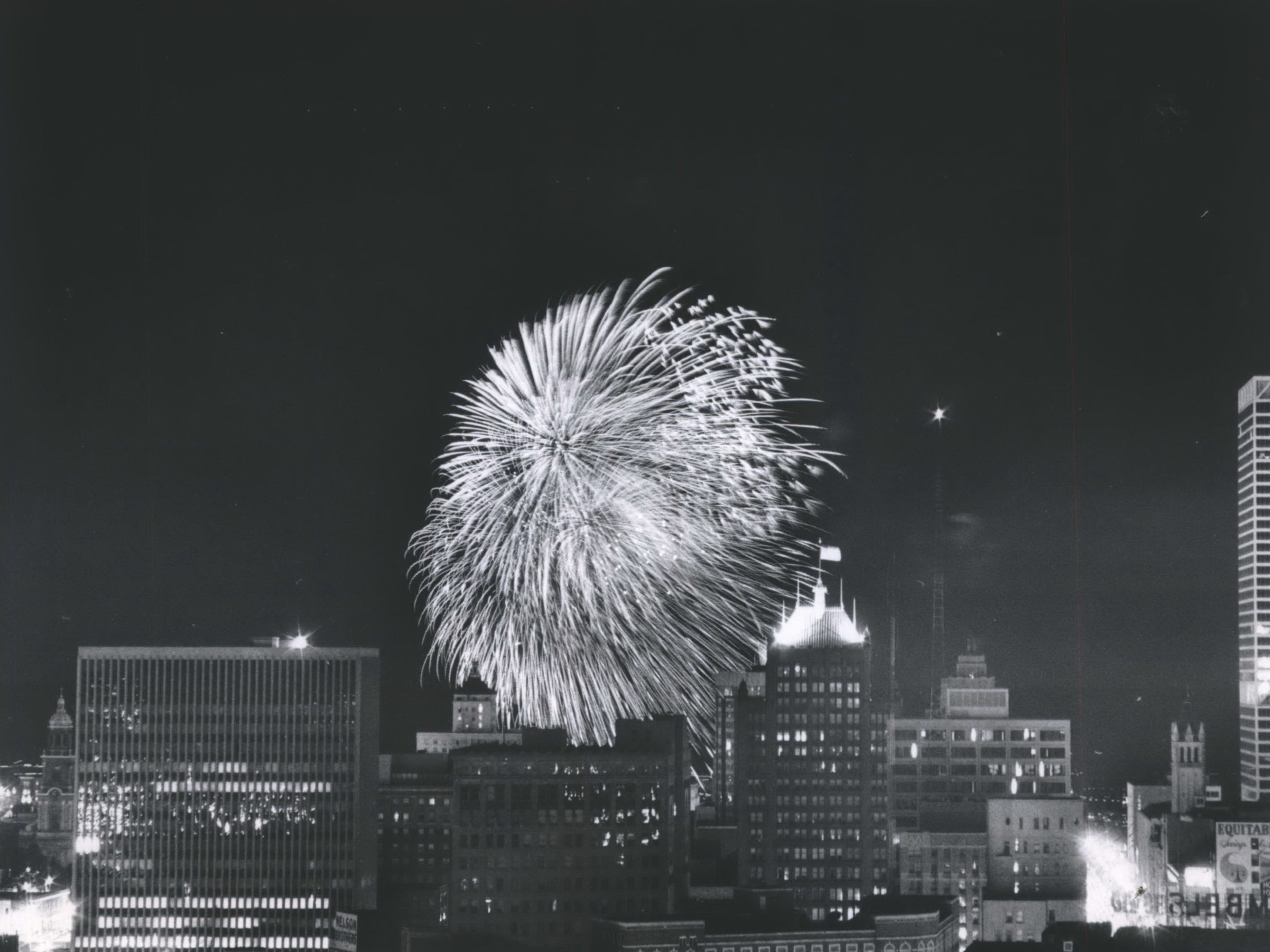 Fireworks light up the Milwaukee skyline in this multiple-exposure picture taken from what is now the Milwaukee Hilton City Center on West Wisconsin Avenue on July 4, 1974. This photo was published in the July 5, 1974, Milwaukee Journal.