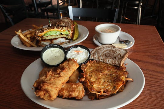 Options on Fridays at Natty Oaks Pub & Eatery, 11505 W. National Ave in West Allis, include cod fish fry with potato pancakes (for an extra charge), clam chowder, and the impressive cod-potato pancake sandwich called the Big Kahuna.