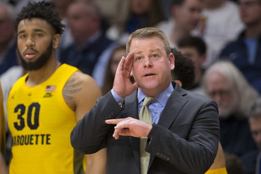 Marquette coach Steve Wojciechowski points out instructions to one of his players during the second half against Villanova on Wednesday.