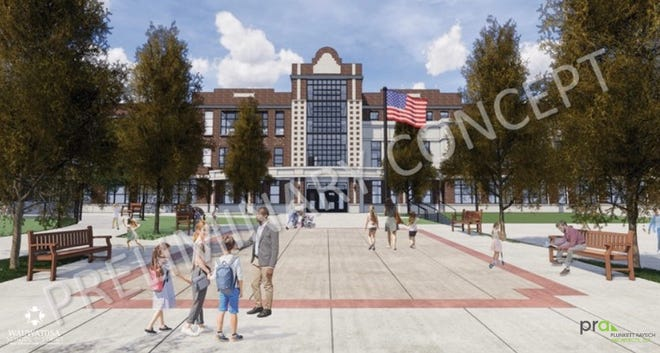 A rendering shows the Wauwatosa School District's proposed design of Lincoln Elementary School. The city's Design Review Board says the look of the building needs to be more modern and more inviting to children.