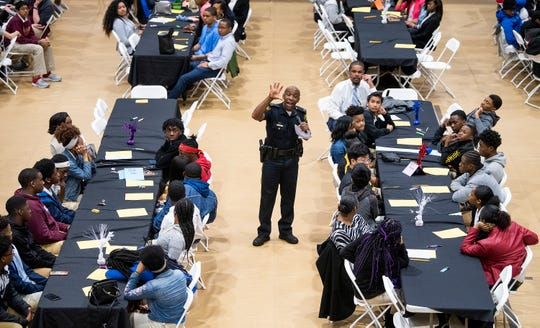 Montgomery Police Lt. JK Mackey speaks during the Youth Forum, held at Faulkner University in Montgomery, Ala., on Thursday February 28, 2019.