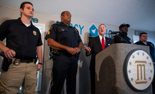 Montgomery Mayor Todd Strange recognizes first responders to the Tuesday shooting at Lee High School during his press conference in Montgomery, Ala. on Thursday February 28, 2019.
