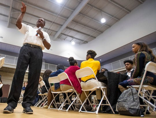 Alabama State University football coach Donald Hill-Eley speaks during the Youth Forum, held at Faulkner University in Montgomery, Ala., on Thursday February 28, 2019.