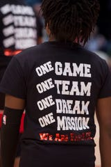 Lee players wear custom warm up shirts before the Class 7A state semifinal at Legacy Arena in Birmingham, Ala., on Thursday, Feb. 28, 2019. Mountain Brook defeated Lee 59-48.
