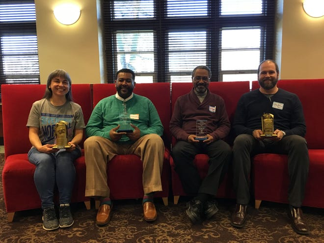 (Left to Right) Melinda Messineo, Riverside (Normal City), Frank Scott (Whitely), Clifford Clemmons (Blaine Southeast and Brad King (Old West End) pose for a photo after being recognized at the 2018 IDEA conference.