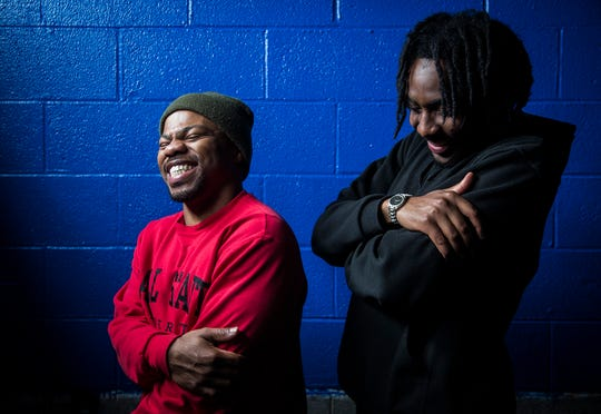 Hip hop artists Chris Mack (left) and LJ Herbert at the Muncie Boys and Girls Club.