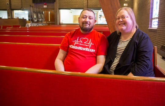 Chad and Maggie walker sit the sanctuary of the Yorktown Nazarene Church on Feb. 28. Chad's recovery from a heart transplant put his life in perspective and helped strengthen their religious convictions.