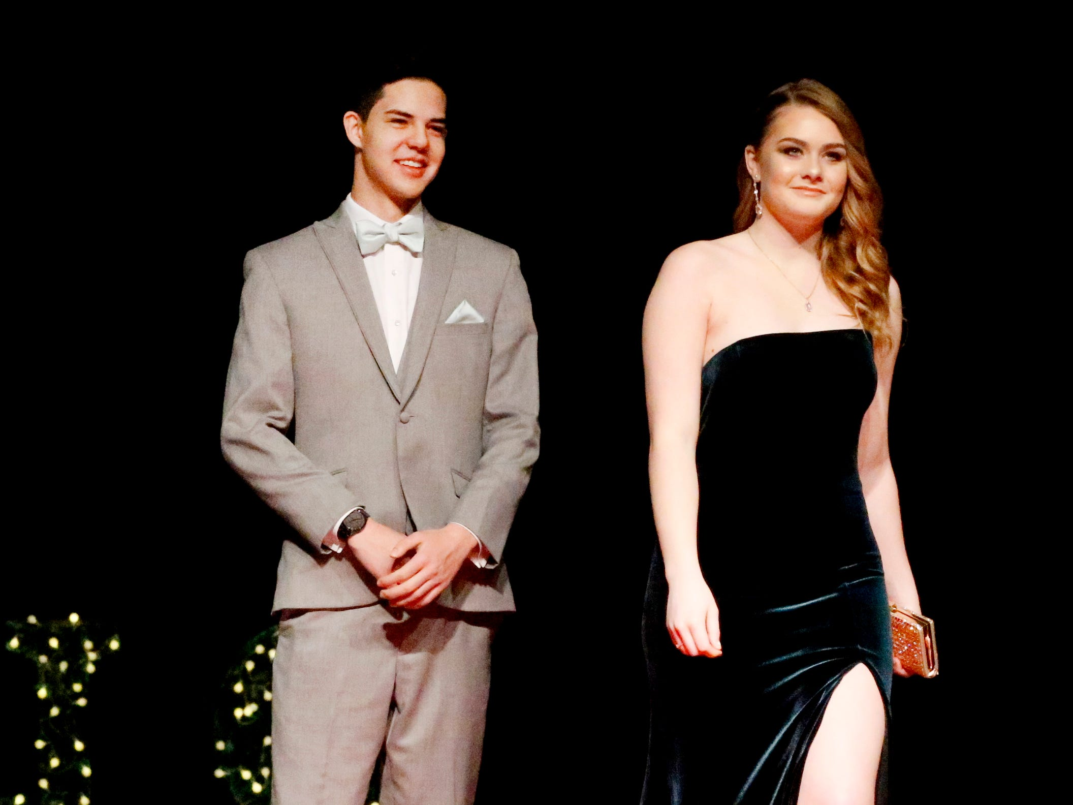 Tristian Cunningham, left and Courtney Donnelly, right show off the latest in prom fashions during the Siegel Prom Fashion show on Thursday, Feb. 14, 2019.