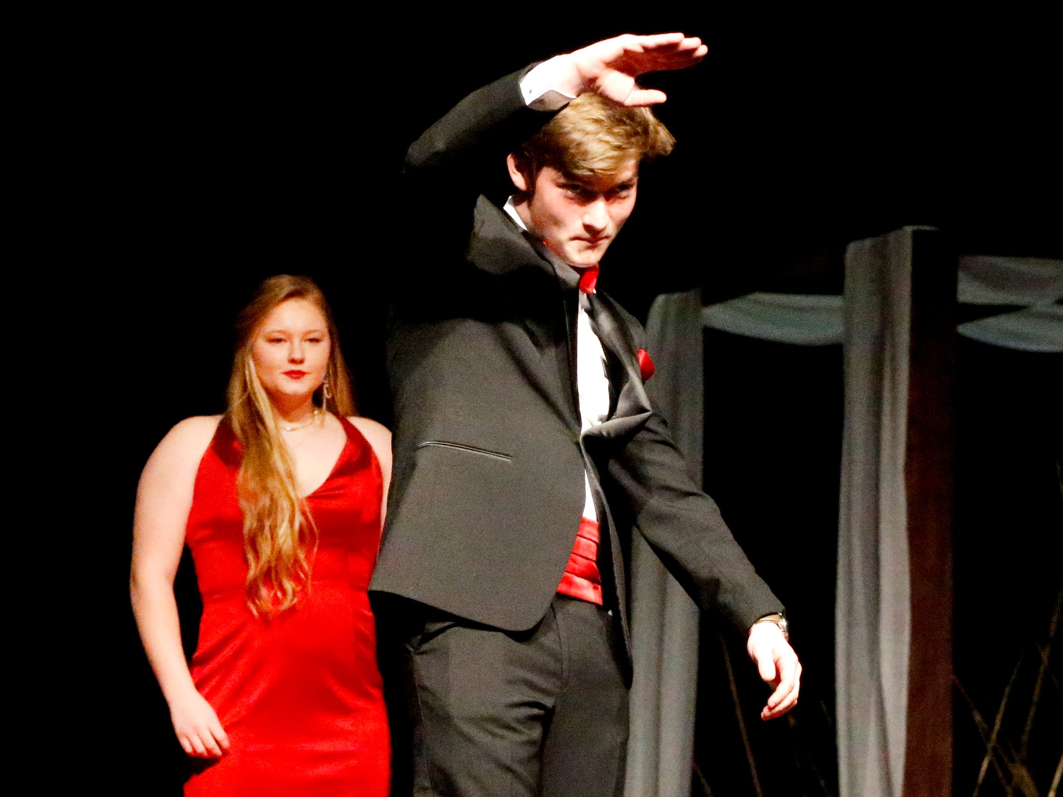 Jackson Jordan shows off his tux at the end of the runway during the Siegel Prom Fashion show on Thursday, Feb. 14, 2019.