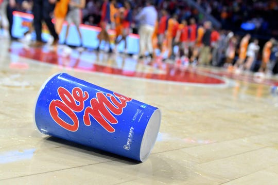 A cup thrown by a fan lies on the court after a game between the Mississippi Rebels and the Tennessee Volunteers at The Pavilion at Ole Miss.