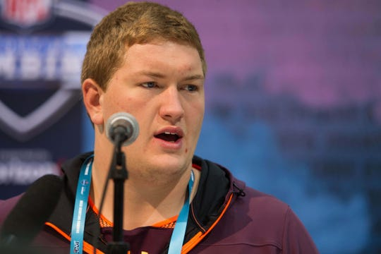 Wisconsin offensive lineman Michael Deiter speaks to media during the 2019 NFL combine.