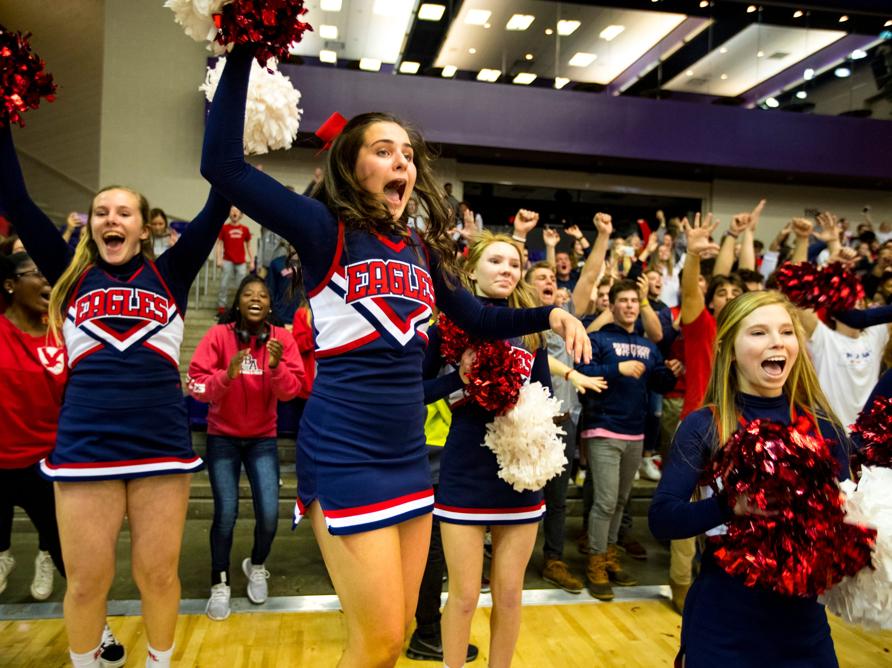 Brentwood Academy's cheerleaders react to time expiring with Brentwood leading 39-37 during Brentwood Academy's game against Baylor in the semifinal round of the TSSAA Division II Class AA State Championships at Lipscomb University's Allen Arena in Nashville on Thursday, Feb. 28, 2019.