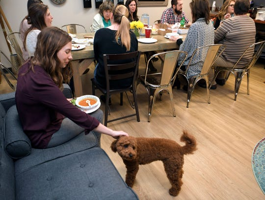 The Refuge Center's Madeleine Shore pets the center's therapy dog, Stellan, during a staff potluck lunch at the Franklin office on Tuesday, Feb. 27, 2019.