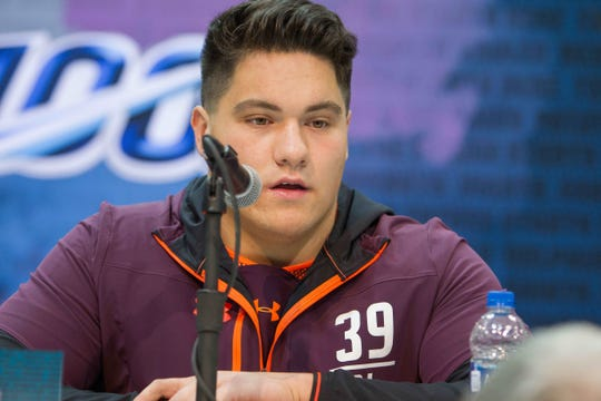 Penn State offensive lineman Connor McGovern speaks to media Thursday during the 2019 NFL combine.