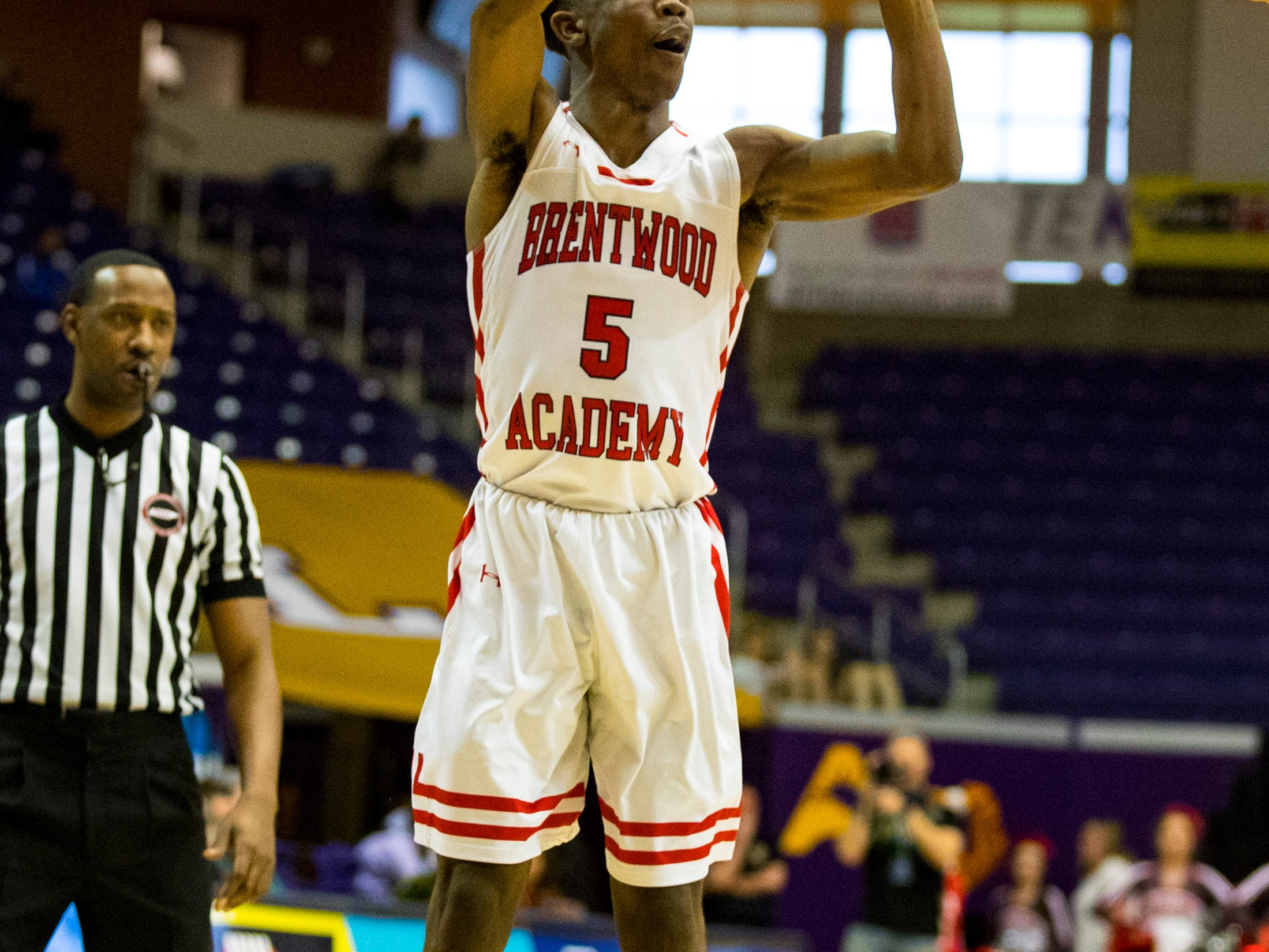 Brentwood Academy's Marcus Fitzgerald (5) shoots during Brentwood Academy's game against Baylor in the semifinal round of the TSSAA Division II Class AA State Championships at Lipscomb University's Allen Arena in Nashville on Thursday, Feb. 28, 2019.