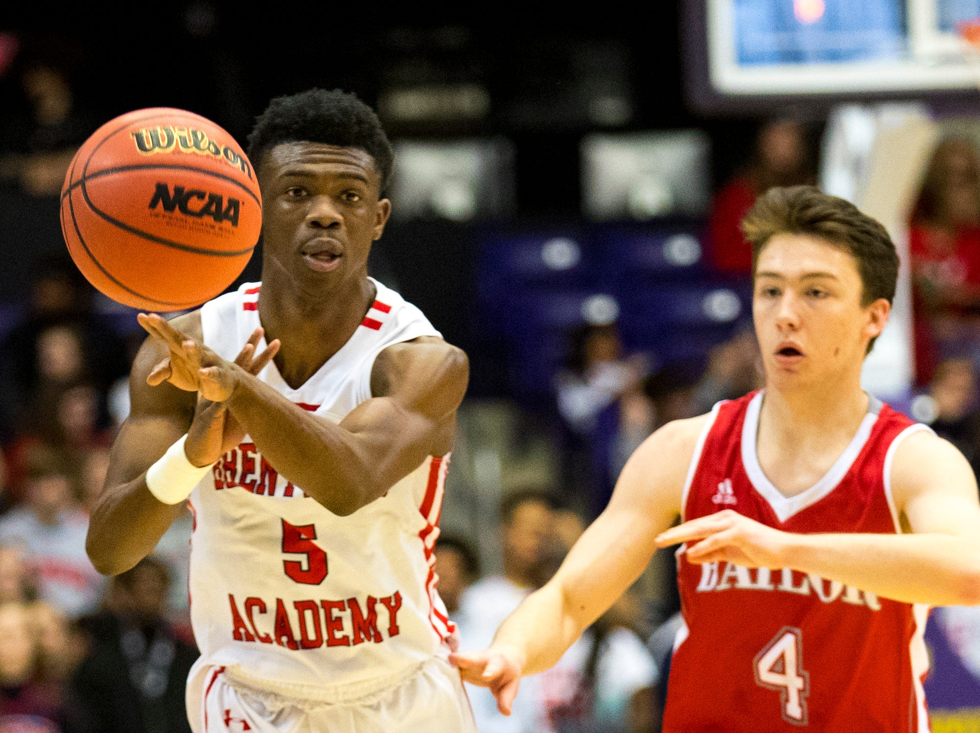 Brentwood Academy's Marcus Fitzgerald (5) passes during Brentwood Academy's game against Baylor in the semifinal round of the TSSAA Division II Class AA State Championships at Lipscomb University's Allen Arena in Nashville on Thursday, Feb. 28, 2019.