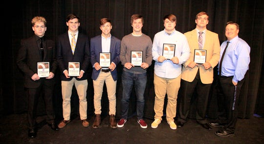 The 2018 Region 6 AAA All Region Team members from Fairview High School are Brody Cox, Logan Parsons, Kyle King, Spencer Flake, Nate Jackson, and Jackson Clevenger with Coach Chris Hughes.