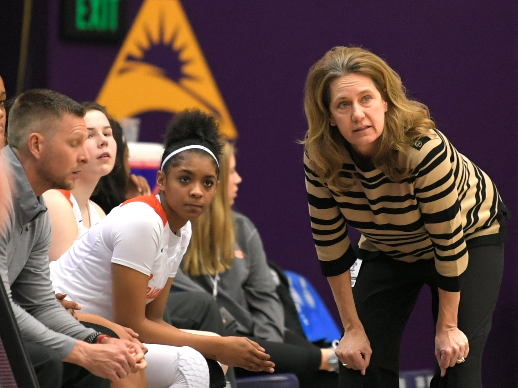 Ensworth head coach Mary Taylor Cowles watches her team during the TSSAA Division II Class AA semifinals at Lipscomb University's Allen Arena in Nashville on Thursday, Feb. 28, 2019.