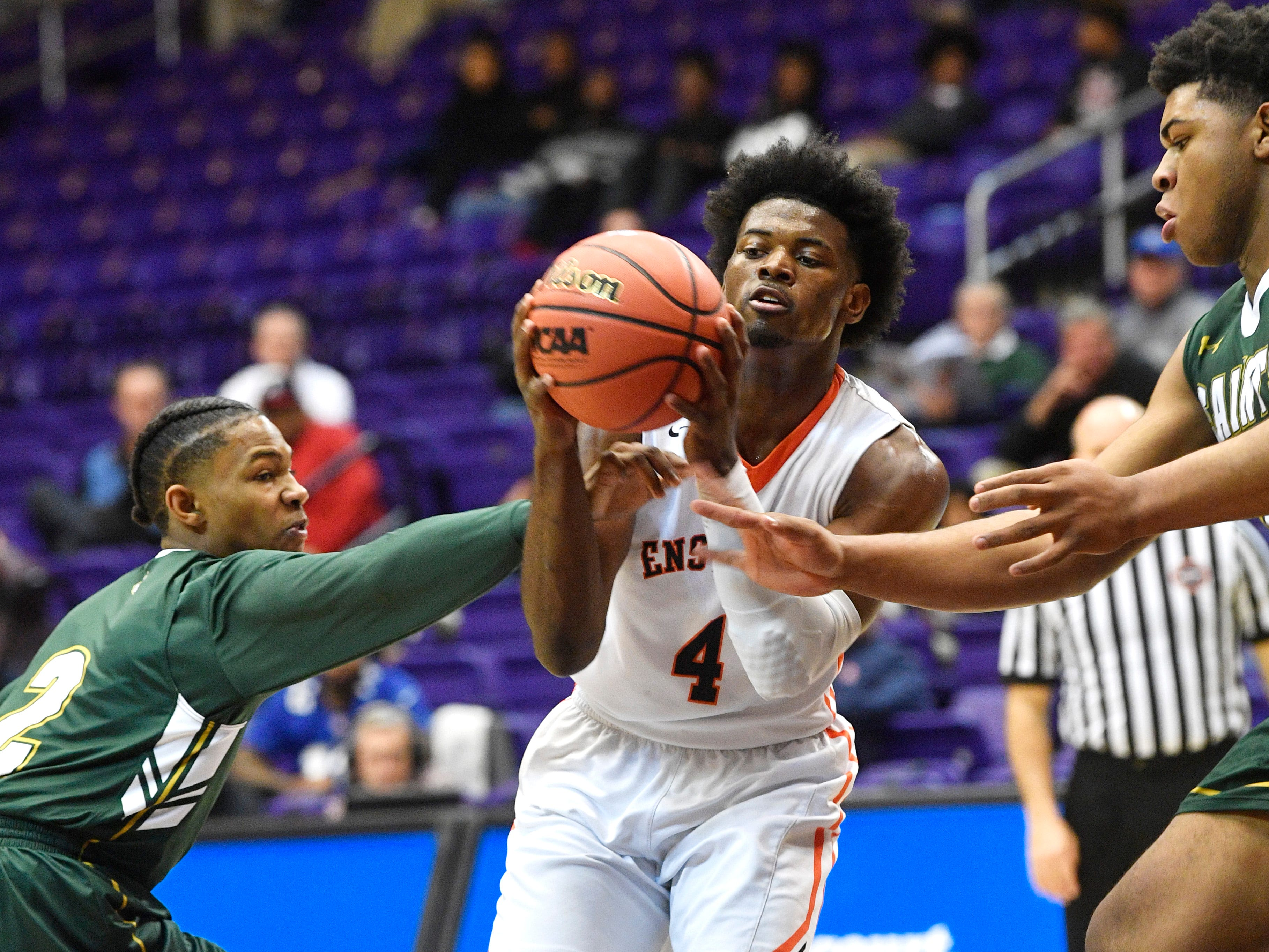 Keshawn Lawrence weaves in heavy traffic as Ensworth plays Briarcrest Christian in the Division II- AA semifinals at Allen Arena  Thursday, Feb. 28, 2019, in Nashville, Tenn.