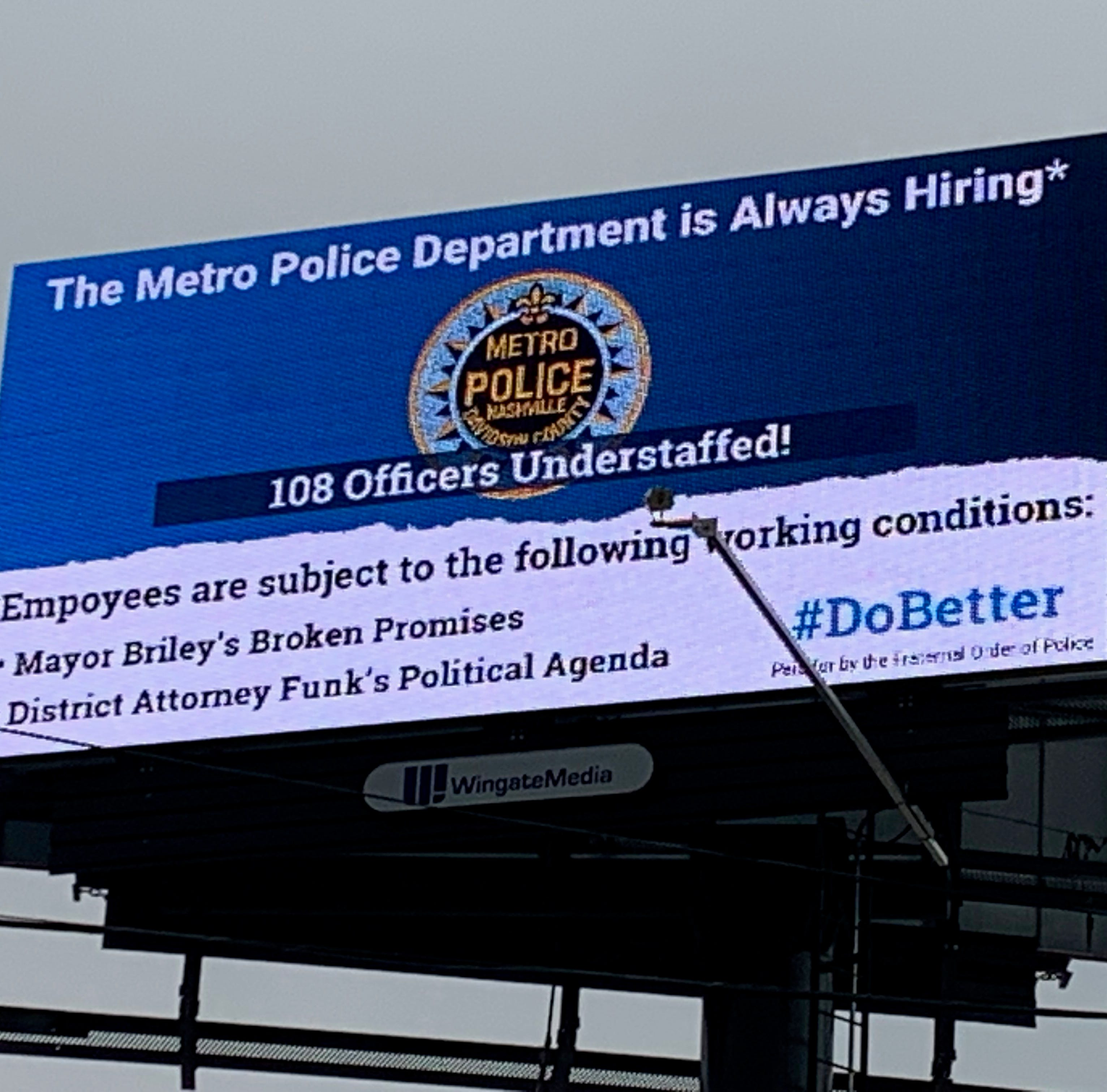 Billboard blasting 'Nashville's leadership' goes up outside new police headquarters on ribbon cutting day