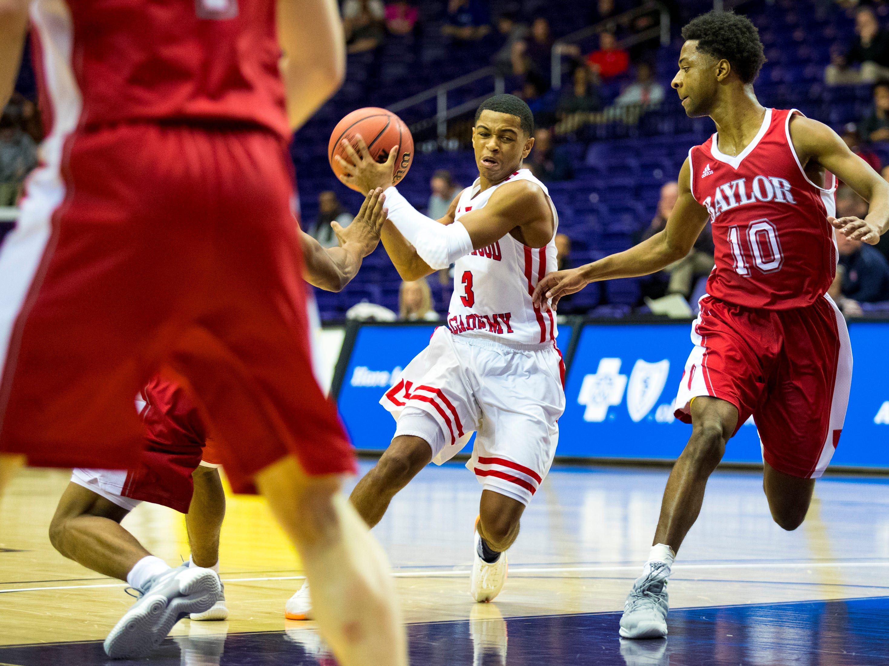 Brentwood Academy's BJ Davis (3) tries to find a lane during Brentwood Academy's game against Baylor in the semifinal round of the TSSAA Division II Class AA State Championships at Lipscomb University's Allen Arena in Nashville on Thursday, Feb. 28, 2019.