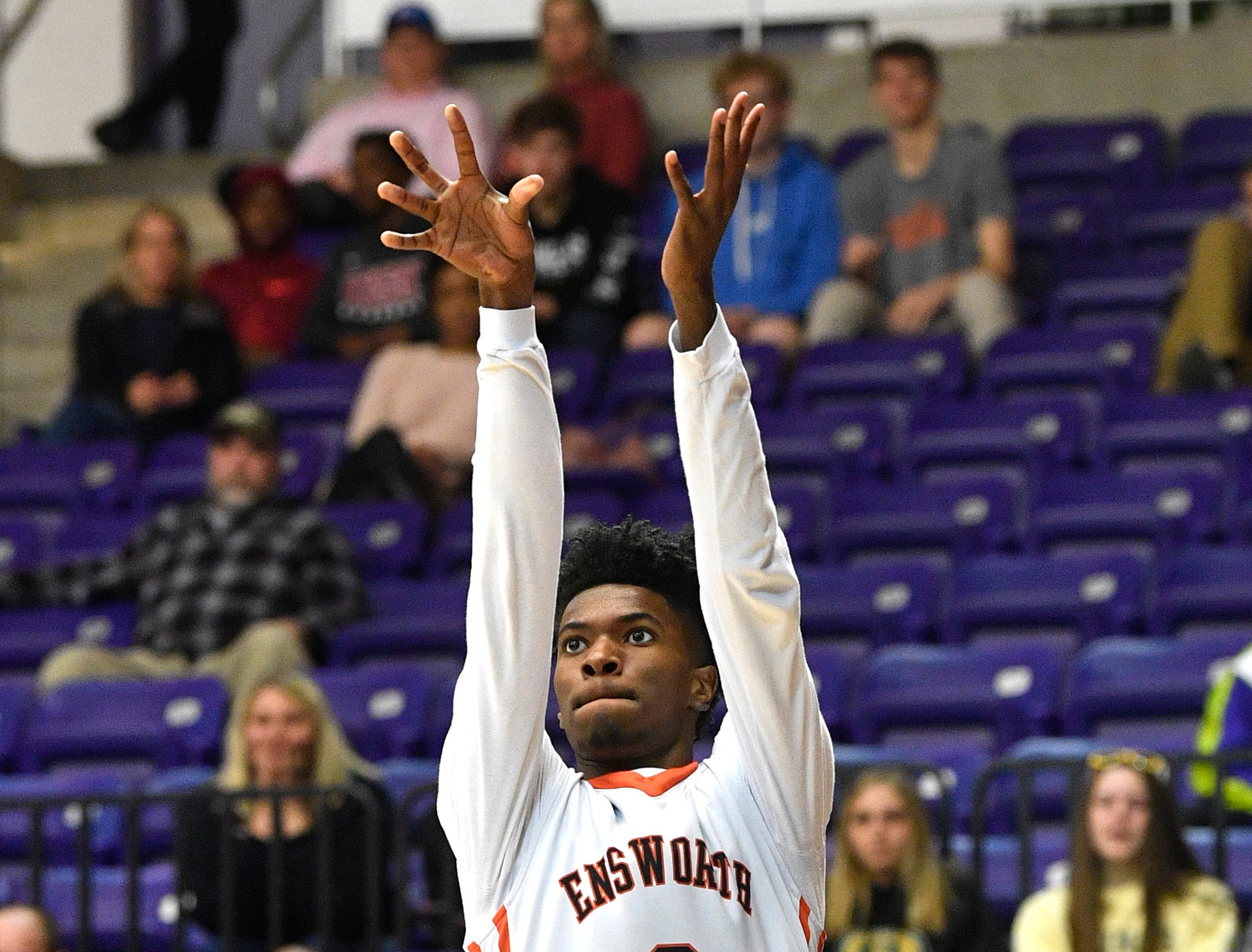 Keyshawn Collier takes the shot as Ensworth plays Briarcrest Christian in the Division II- AA semifinals at Allen Arena  Thursday, Feb. 28, 2019, in Nashville, Tenn.
