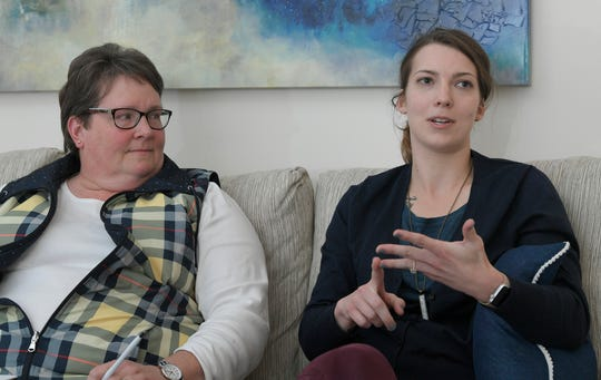 The Refuge Center's Clinical Director and counselor Anita Pringle,left,  and counselor Samantha Thomason talk about  compassionate care and professional burnout associated with helping others.  Photo taken at the center's Franklin location on Friday, Feb. 21, 2019