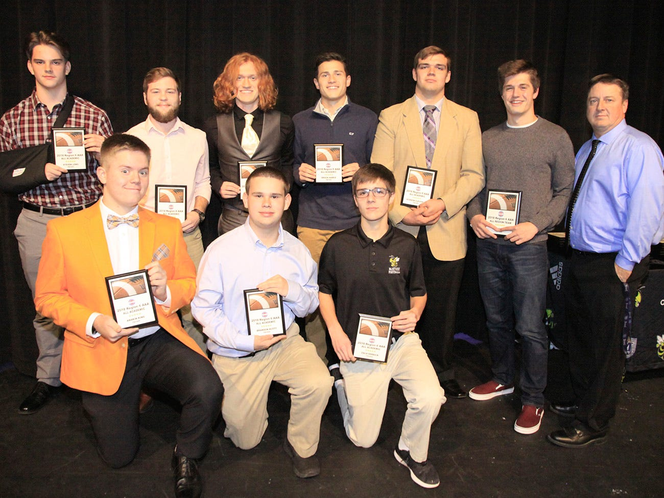 The 2018 Region 6 AAA, All Academic players from Fairview High School are (front l to r) Anakin King, Brandon Scott, Zach Derrick; (back) Steve Long,  Jared Hudlow , Skyler Wilson, Brock Harris, Jackson Clevenger, Spencer Flake, and Coach Chris Hughes.