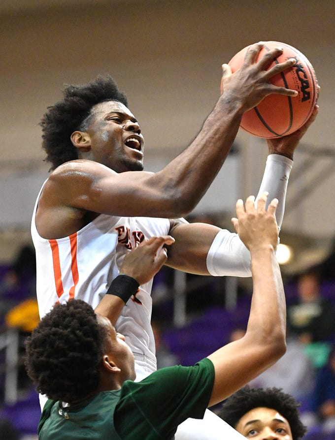 Ensworth's Keshawn Lawrence goes up for the shot as they play Briarcrest Christian in the Division II- AA semifinals at Allen Arena  Thursday, Feb. 28, 2019, in Nashville, Tenn.