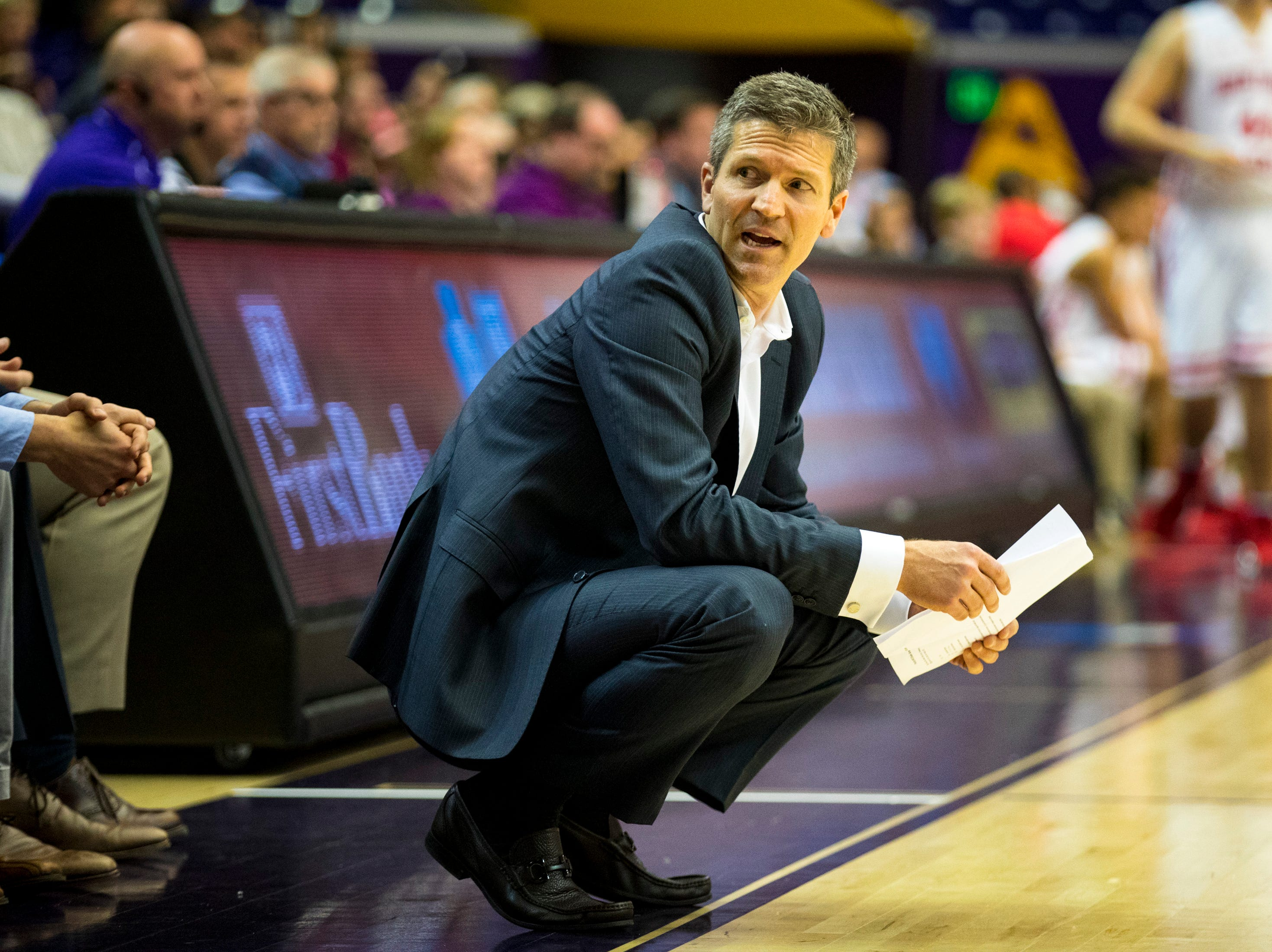 Baylor's head coach Mark Price during Brentwood Academy's game against Baylor in the semifinal round of the TSSAA Division II Class AA State Championships at Lipscomb University's Allen Arena in Nashville on Thursday, Feb. 28, 2019.