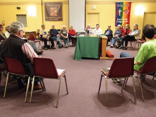 Members of the Edgehill United Methodist Church in Nashville gather for a Wednesday night prayer service following the United Methodist Church's decision in St. Louis to uphold the denomination's ban on same-sex marriage and LGBT clergy.