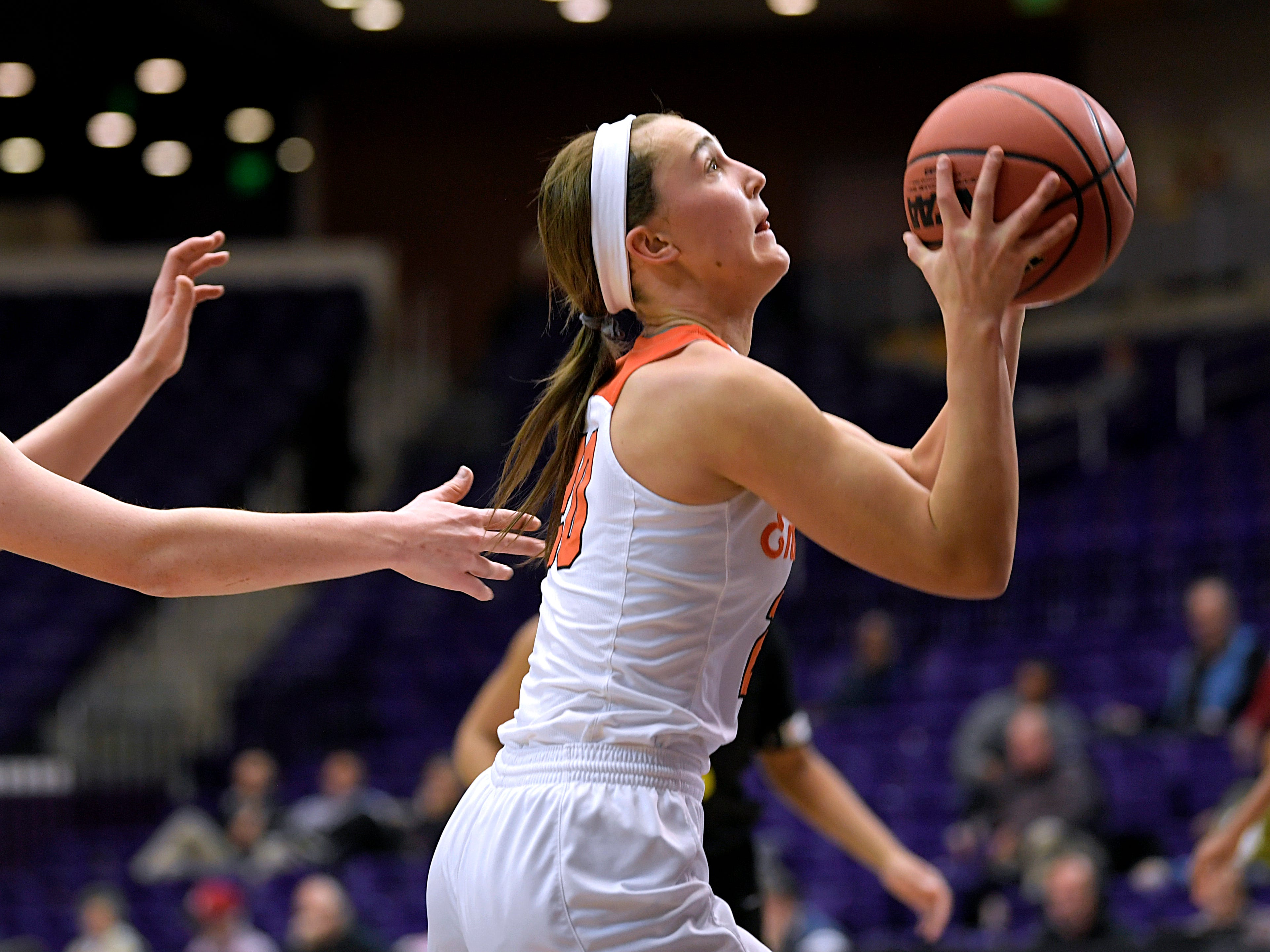 Ensworth's Annabel Frist (20) shoots a basket against Hutchison during the TSSAA Division II Class AA semifinals at Lipscomb University's Allen Arena in Nashville on Thursday, Feb. 28, 2019.