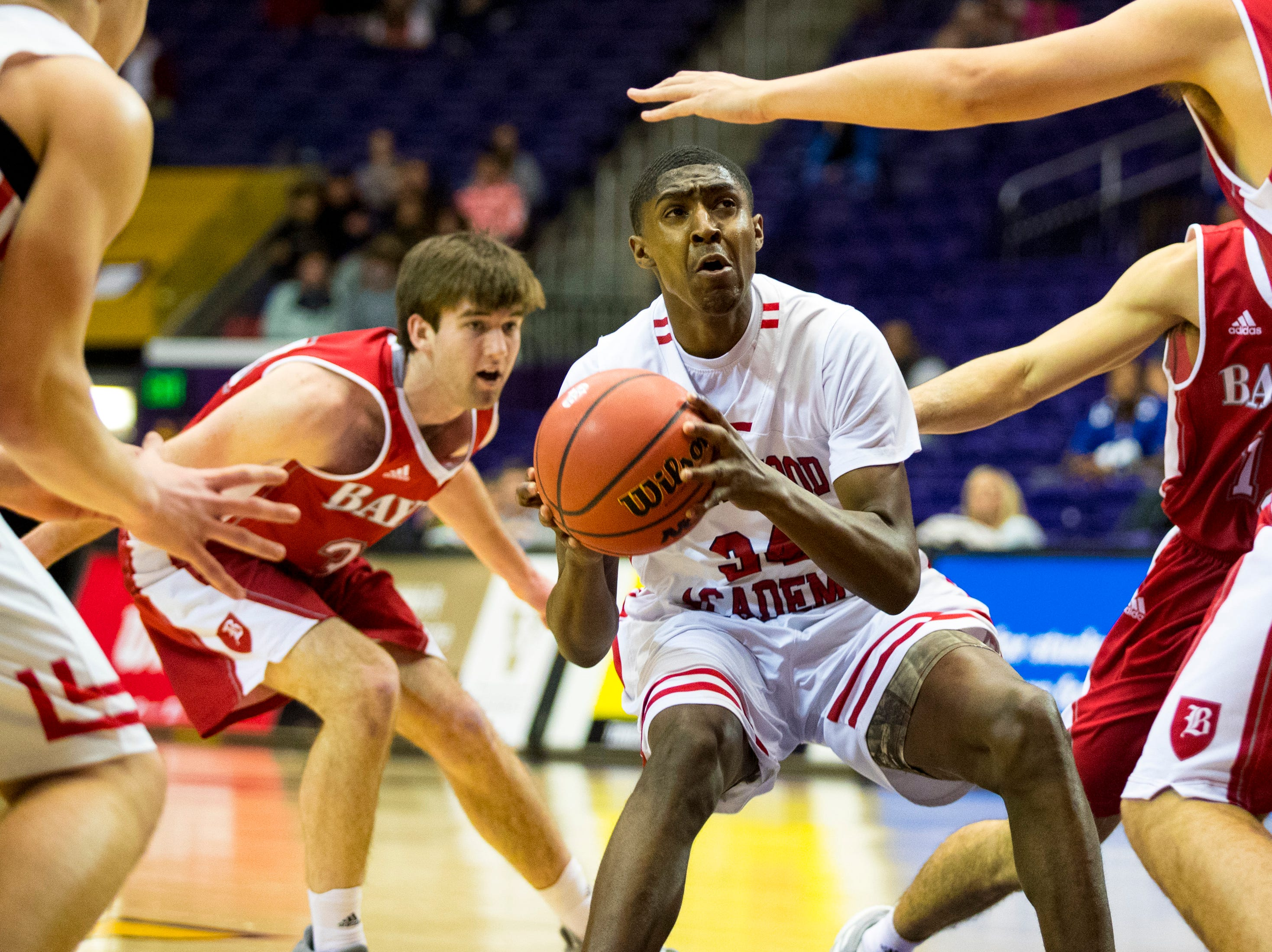 Brentwood Academy's Randy Brady (34) looks towards the basket during Brentwood Academy's game against Baylor in the semifinal round of the TSSAA Division II Class AA State Championships at Lipscomb University's Allen Arena in Nashville on Thursday, Feb. 28, 2019.