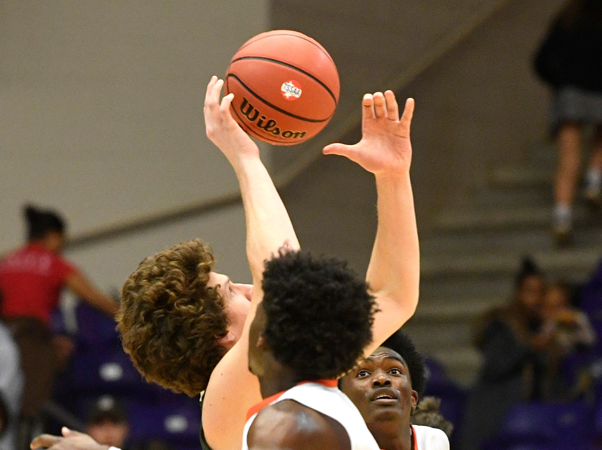Richard Hunt is pressured as Ensworth plays Briarcrest Christian in the Division II- AA semifinals at Allen Arena  Thursday, Feb. 28, 2019, in Nashville, Tenn.