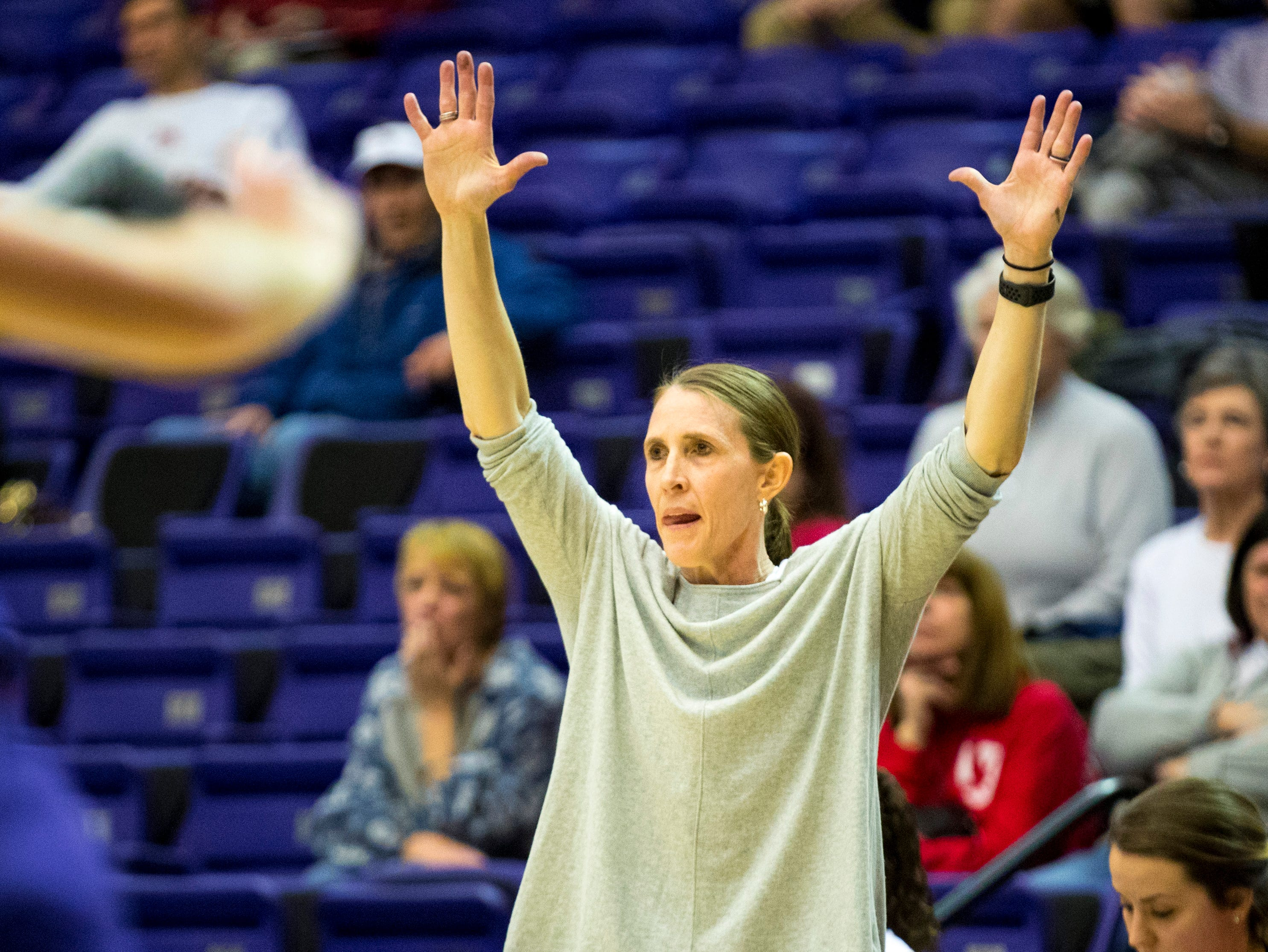 Brentwood Academy girls basketball coach Rhonda Brown signals to her players during Brentwood Academy's game against Father Ryan in the semifinal round of the TSSAA Division II Class AA State Championships at Lipscomb University's Allen Arena in Nashville on Thursday, Feb. 28, 2019.