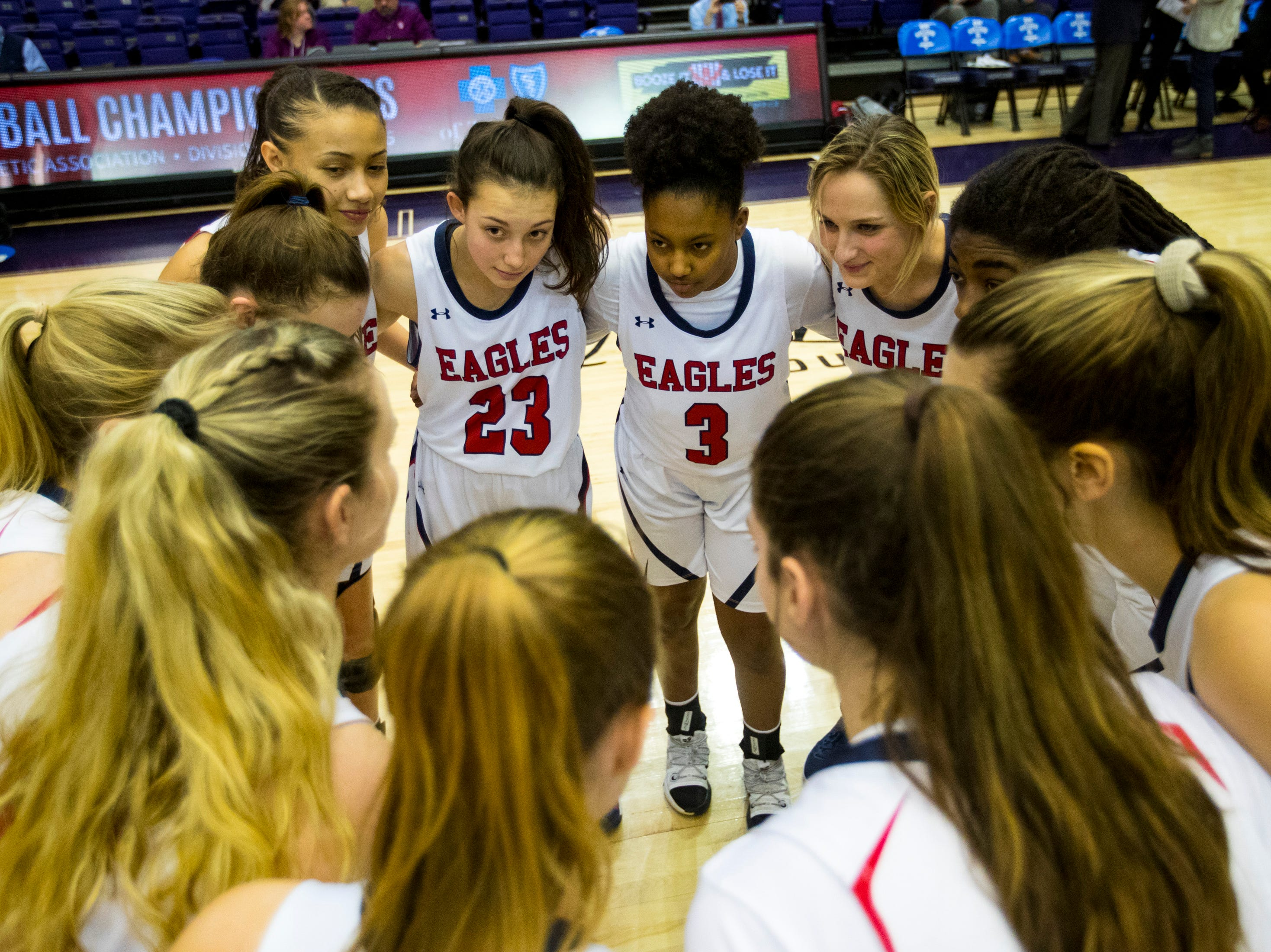 Brentwood Academy's players huddle up before Brentwood Academy's game against Father Ryan in the semifinal round of the TSSAA Division II Class AA State Championships at Lipscomb University's Allen Arena in Nashville on Thursday, Feb. 28, 2019.
