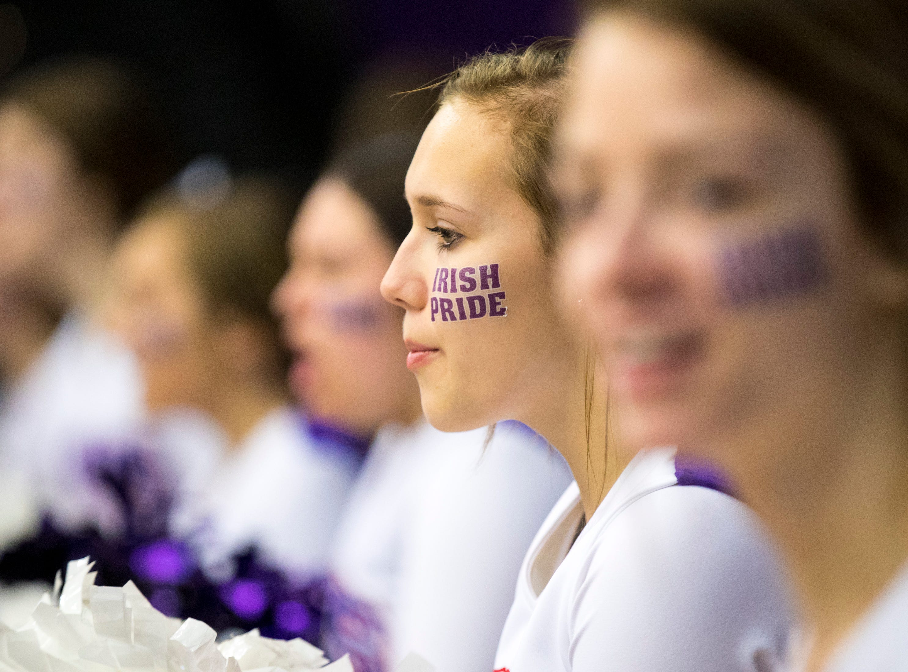 "Father Ryan's cheerleader Heather Rogers wears an ""Irish pride"" sticker during Brentwood Academy's game against Father Ryan in the semifinal round of the TSSAA Division II Class AA State Championships at Lipscomb University's Allen Arena in Nashville on Thursday, Feb. 28, 2019."