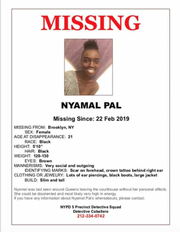 The flyer for missing woman Nyamal Pal, who is from Franklin.