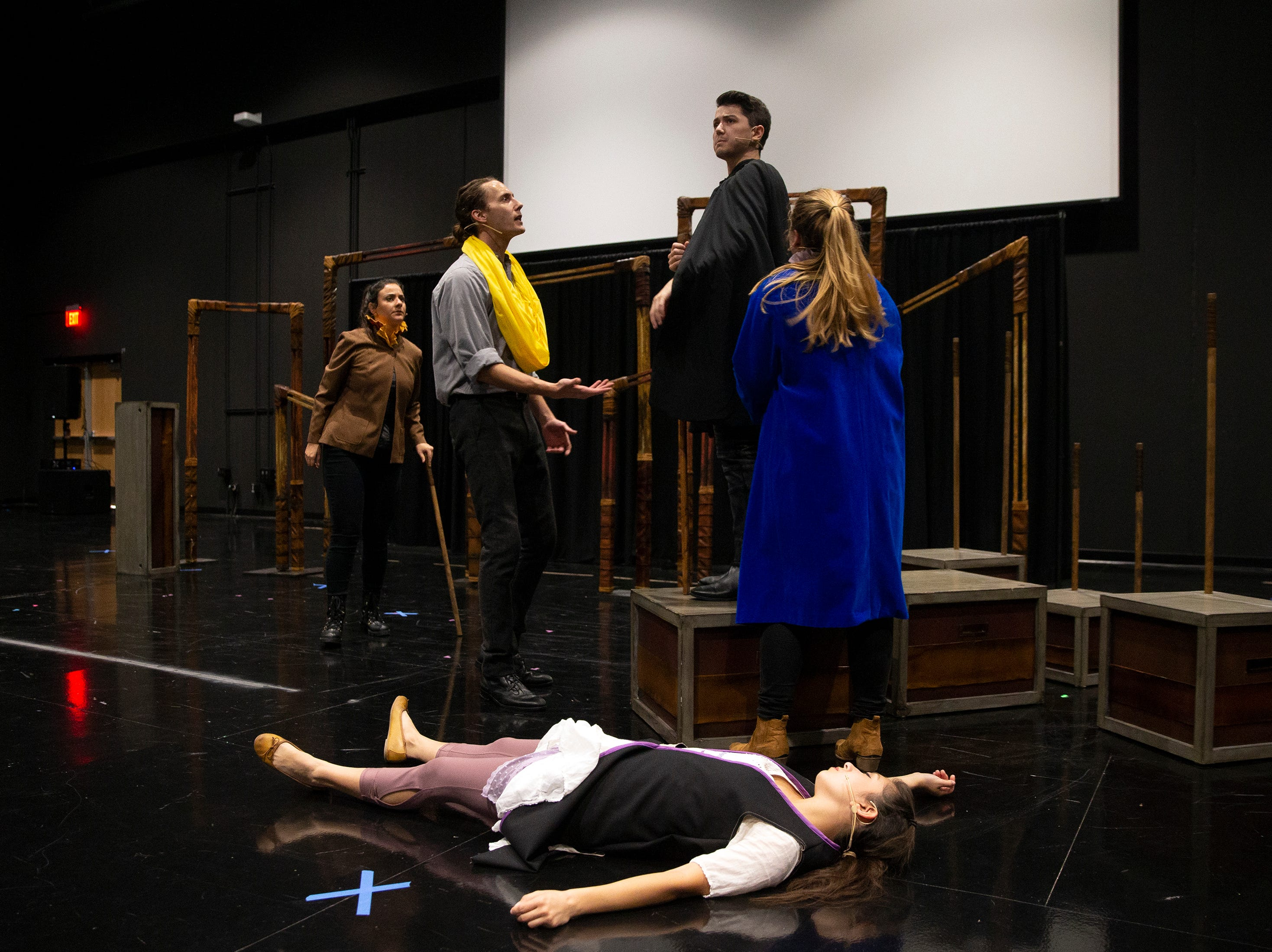 Florida Repertory Theater actors preform Romeo and Juliet to Bonita High School sophomore and freshman students on Thursday, Feb. 28, 2019, at the Bonita High's black box theater.