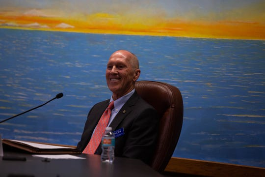 Bill Moss speaks at a public forum for the Naples City Council candidates at Naples City Hall on Wednesday, Feb. 27, 2019. Moss served as Naples city manager for 10 years.