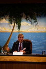 Ted Blankenship speaks at a public forum for the Naples City Council candidates at Naples City Hall on Wednesday, Feb. 27, 2019. Blankenship currently serves as an alternate on the city's Community Services Advisory Board.