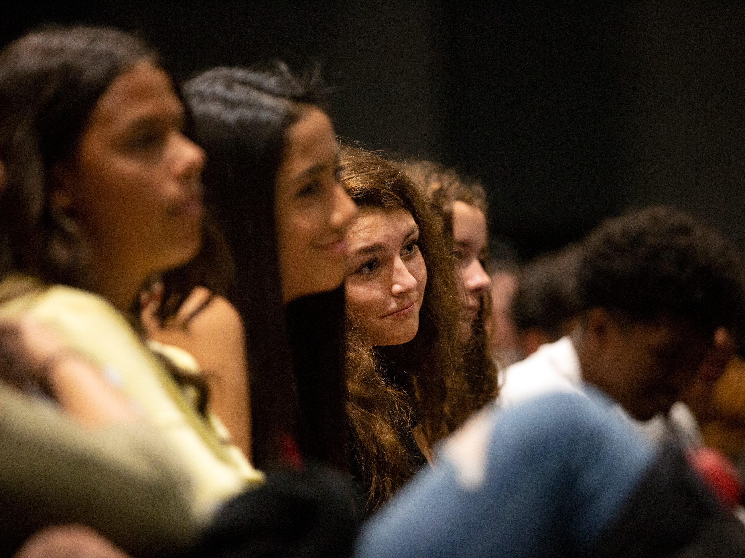 Freshman and sophomore students from Bonita High School watch the Florida Reparatory Theater's production of Romeo and Juliet, Thursday, Feb. 28, 2019, at Bonita High's black box theater.
