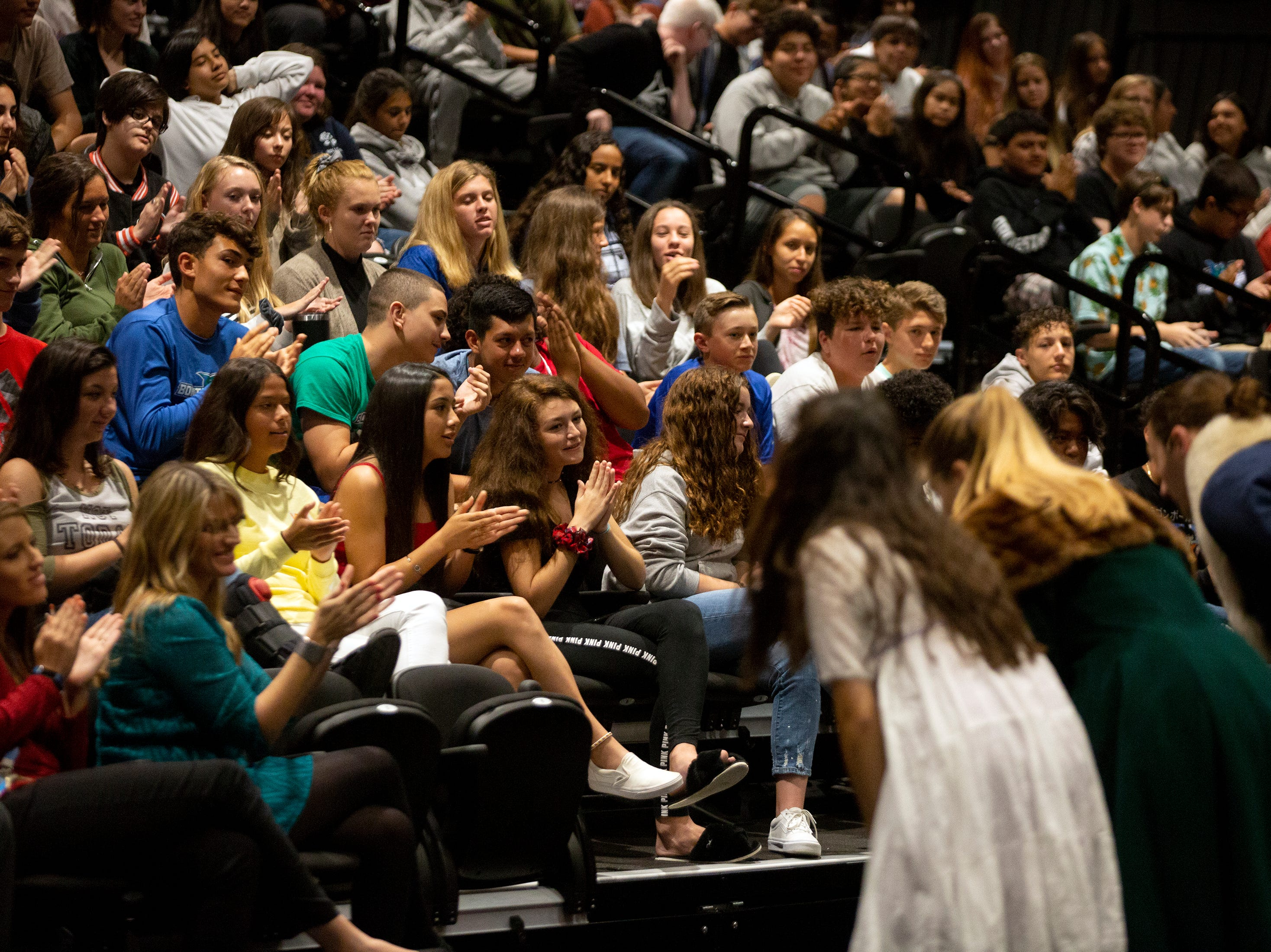 Bonita High School students applaud as the actors from the Florida Repertory Theater take a bow after their performance of Romeo and Juliet Thursday, Feb. 28, 2019 at the Bonita High School's black box theater.