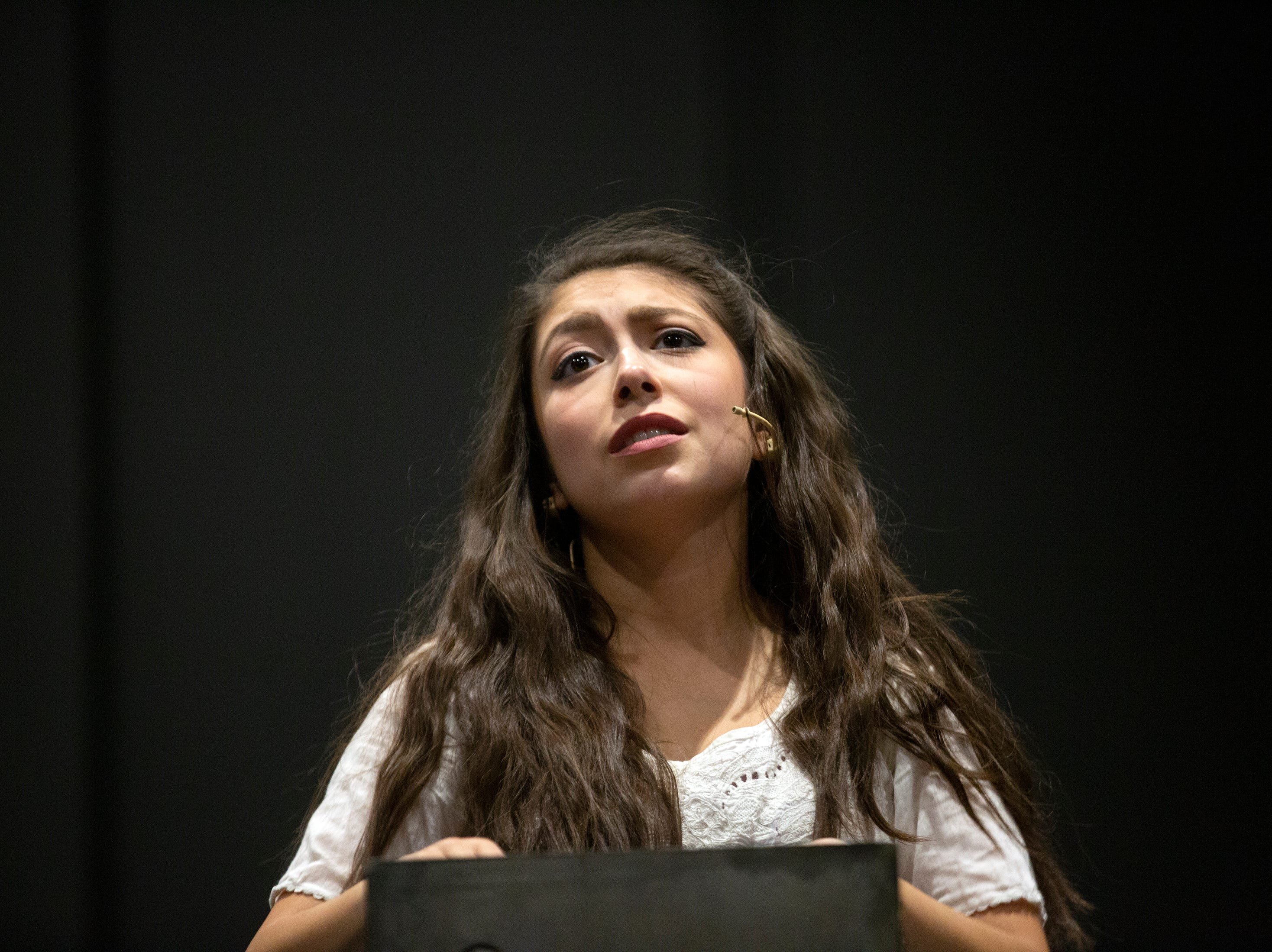 Sydney Torres plays a scene as Juliet during the Florida Repertory Theater's production of Romeo and Juliet Thursday, Feb. 28, 2019, at Bonita High School's black box theater.