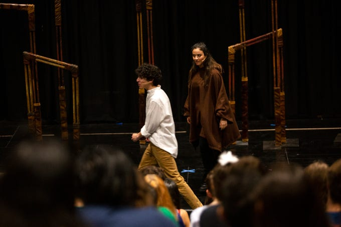 Florida Repertory Theater actors Jake Berne and Genevieve Tankosich perform a scene from Romeo and Juliet in front of Bonita High School students on Thursday, Feb. 28, 2019, at Bonita High's new black box theater.
