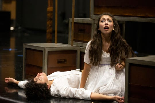 Florida Repertory Theater actors Jake Berne, left, and Sydney Torres play Romeo and Juliet, Thursday, Feb. 28, 2019, at Bonita High School's black box theater.