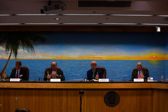 Candidates for the vacant seat on the Naples City Council appear in a public forum at Naples City Hall on Wednesday, Feb. 27, 2019.