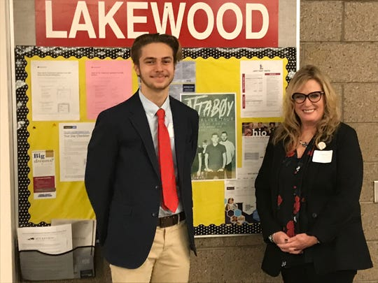 Lakewood High School English teacher Cheryl Lapp (right) was nominated for the You Made A Difference Award by student Anthony Toskin (left). A reception was held in the C-TEC cafeteria prior to the ceremony Wednesday, sponsored for the 20th year by Coughlin Automotive.